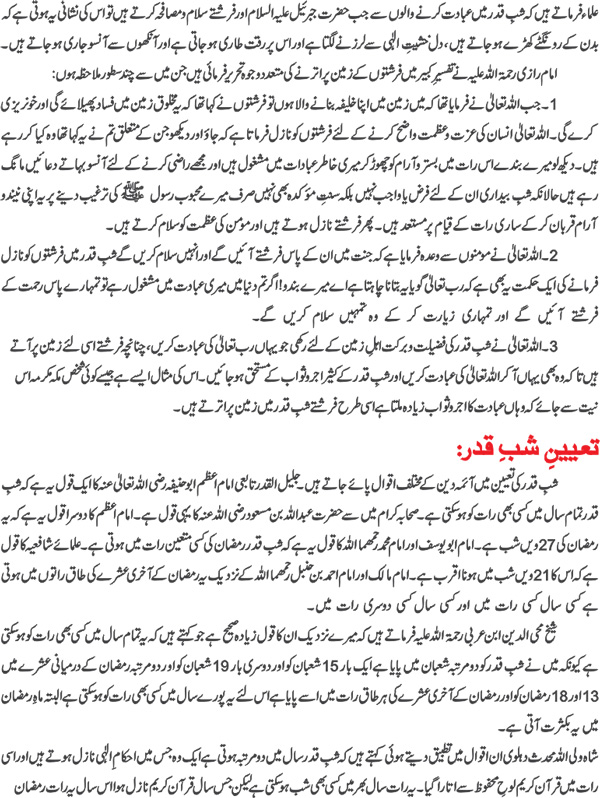 Laylatul Qadir Importance Fazail Prayers 2013