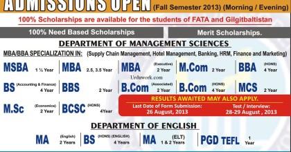NUML Open university Peshawar Admission 2014 Spring