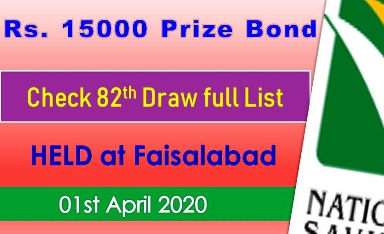 Rs. 15000 Prize bond Draw #82 list 01 April, 2020