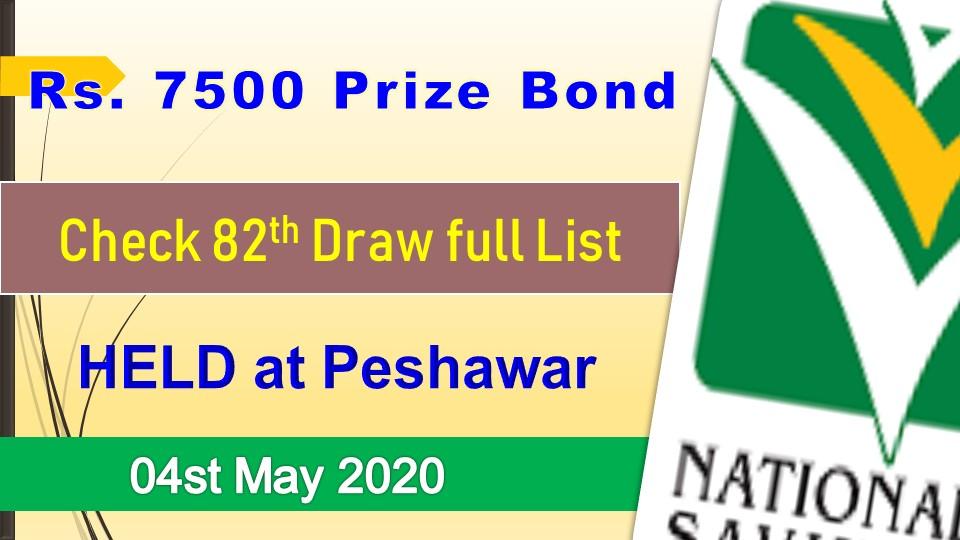 Rs. 7500 Prize bond Peshawar Draw #82 list Result 04 May, 2020